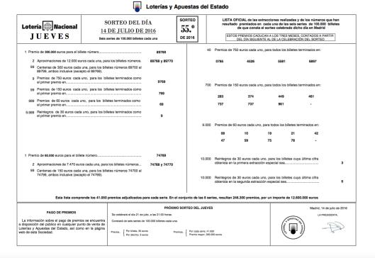 Lista Lotería Nacional 14 julio 2016 Sorteo 55 (2)