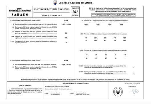 Lista Lotería Nacional 16 julio 2016 Sorteo 56 (2)