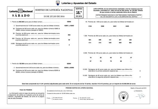 Lista Lotería Nacional 23 julio 2016 Sorteo 58 (2)